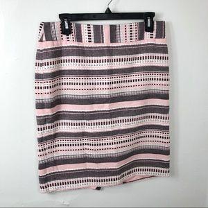 LOFT Pink Black White Woven Textured Pencil Skirt